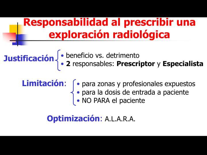 Responsabilidad al prescribir una exploración radiológica