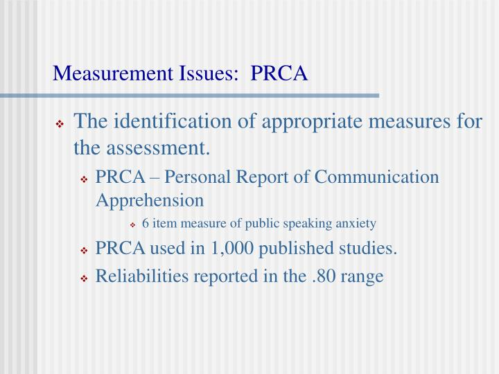 Measurement issues prca