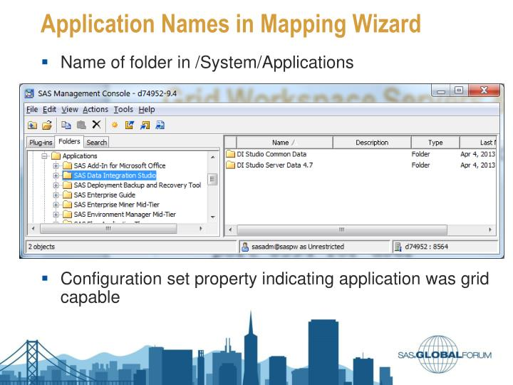 Application Names in Mapping Wizard