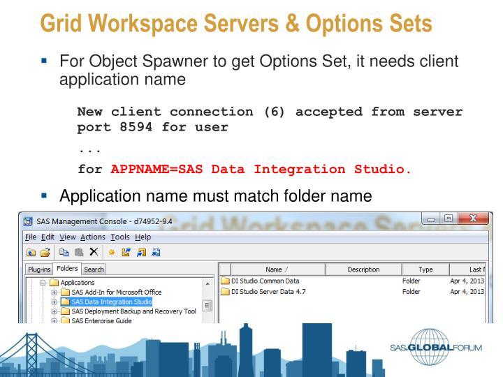 Grid Workspace Servers & Options Sets