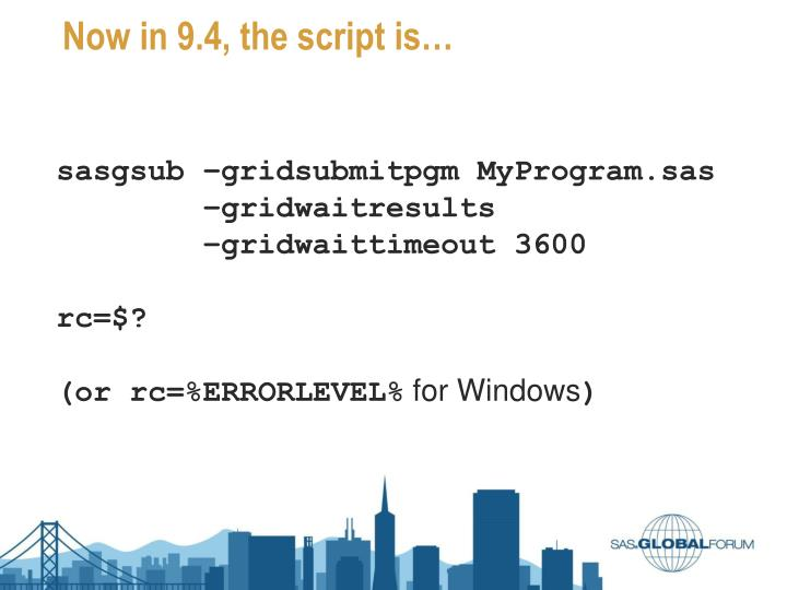 Now in 9.4, the script is…