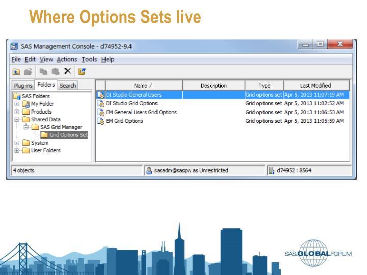 Where Options Sets live