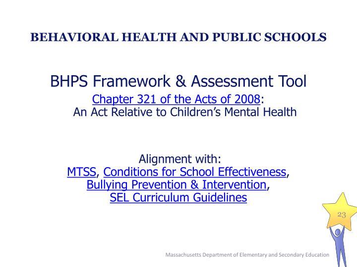 BEHAVIORAL HEALTH AND PUBLIC SCHOOLS