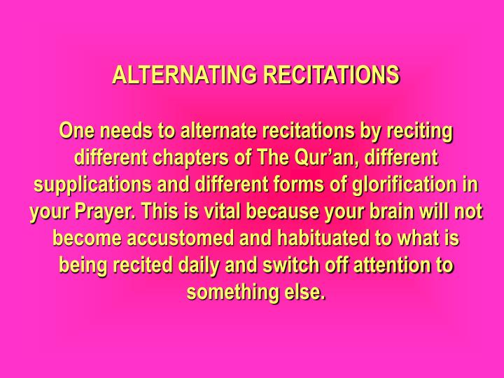 ALTERNATING RECITATIONS
