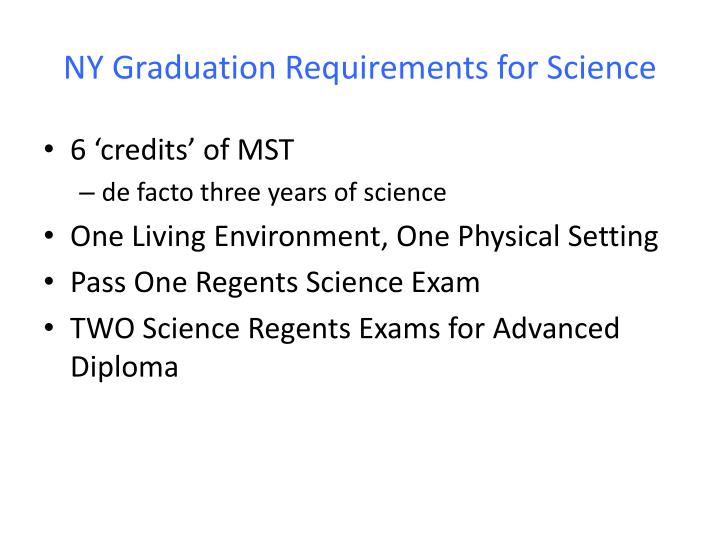 NY Graduation Requirements for Science