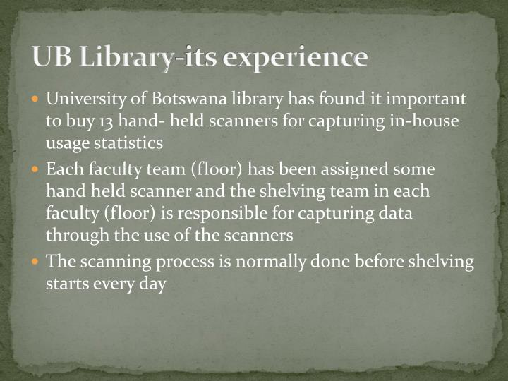 UB Library-its experience