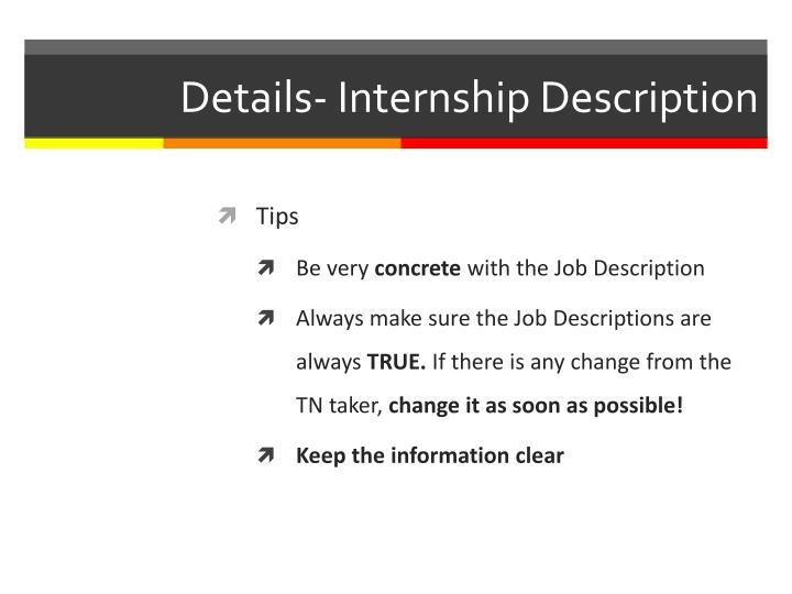 Details- Internship Description
