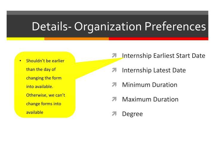 Details- Organization Preferences