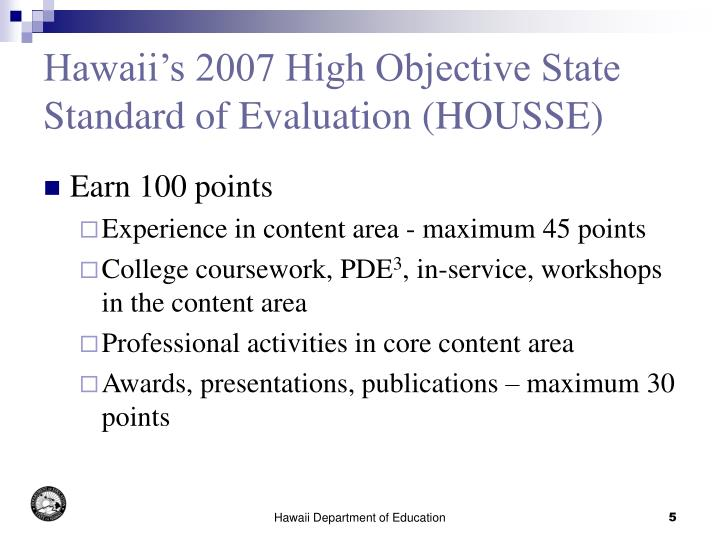 Ppt hawaii s nclb title iia highly qualified teacher for Housse standards