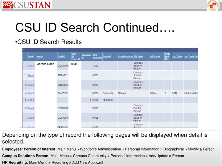 CSU ID Search Continued….