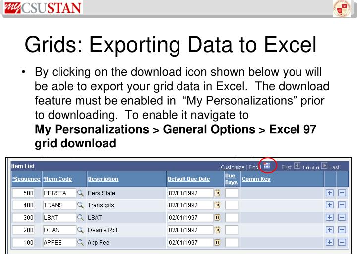 Grids: Exporting Data to Excel