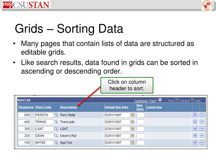 Grids – Sorting Data