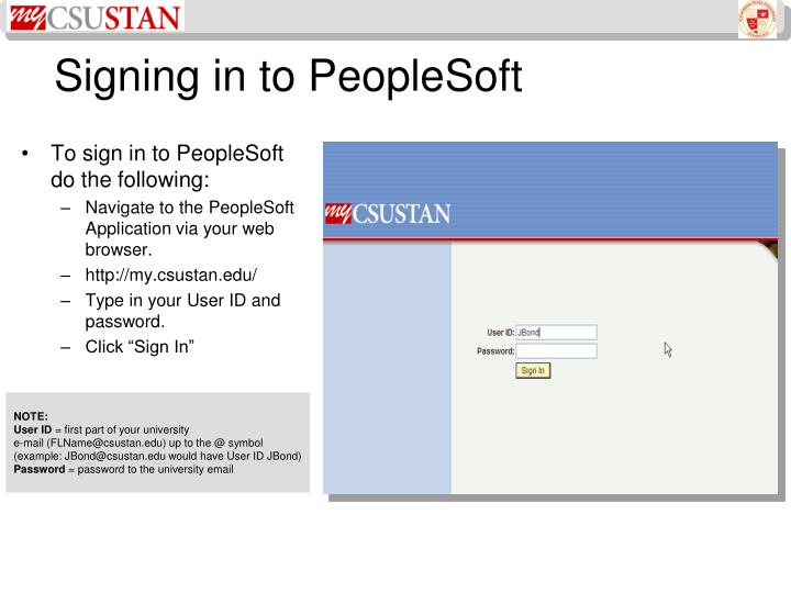 Signing in to peoplesoft
