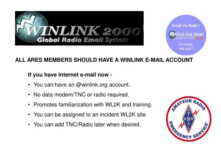 ALL ARES MEMBERS SHOULD HAVE A WINLINK E-MAIL ACCOUNT