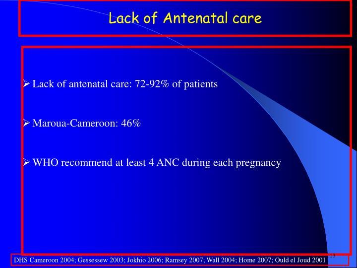 Lack of Antenatal care