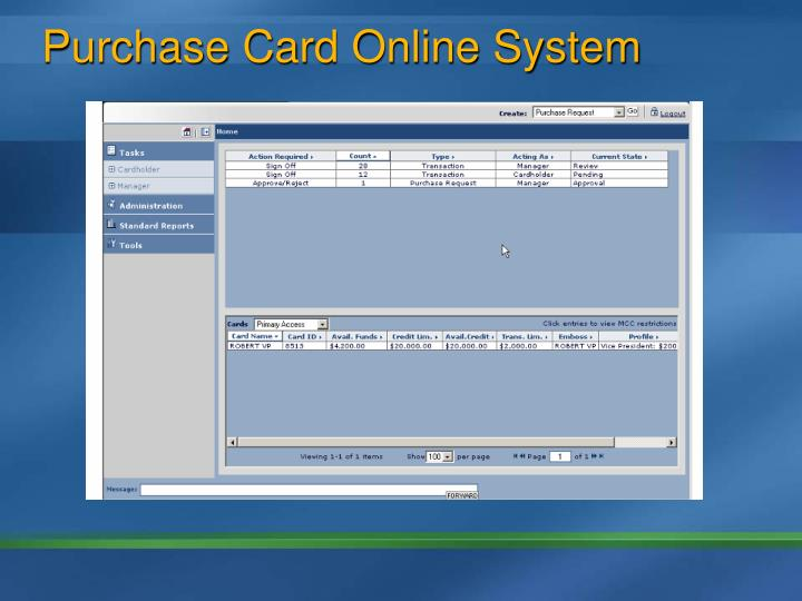 Purchase Card Online System