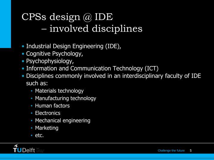 CPSs design @ IDE