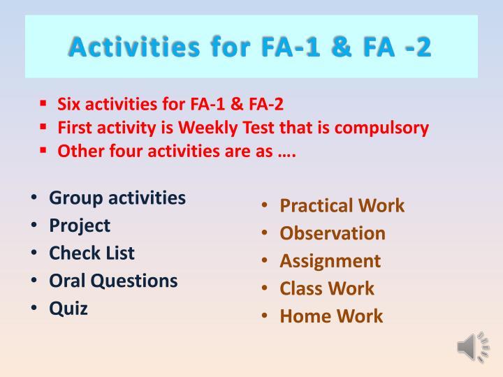 Activities for FA-1 & FA -2