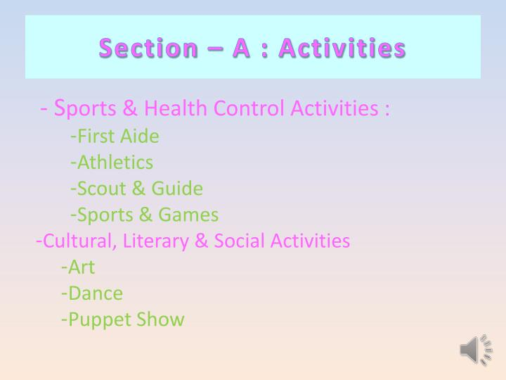 Section – A : Activities