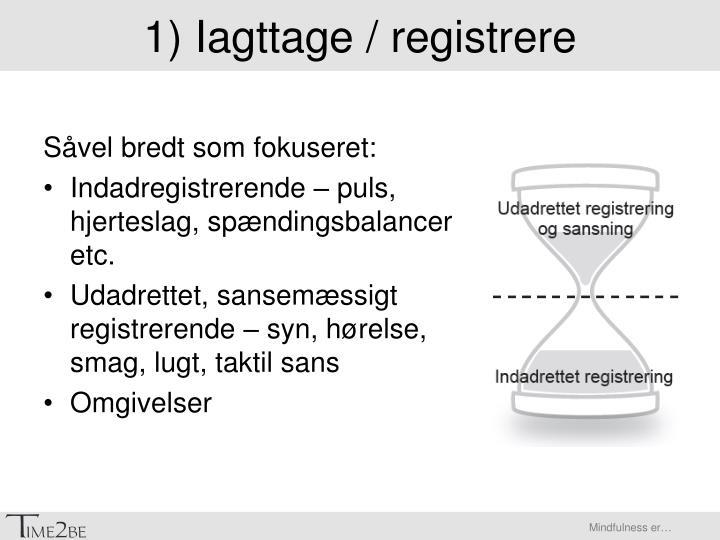 1) Iagttage / registrere