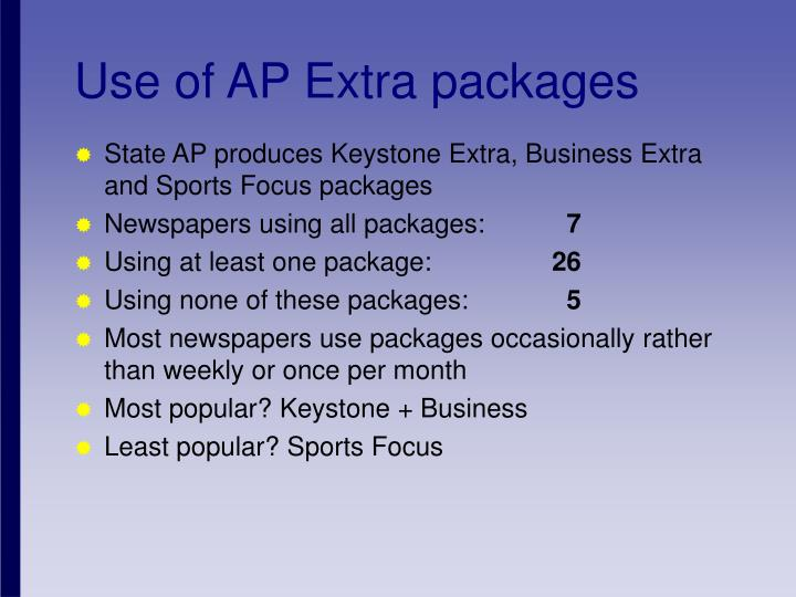 Use of AP Extra packages