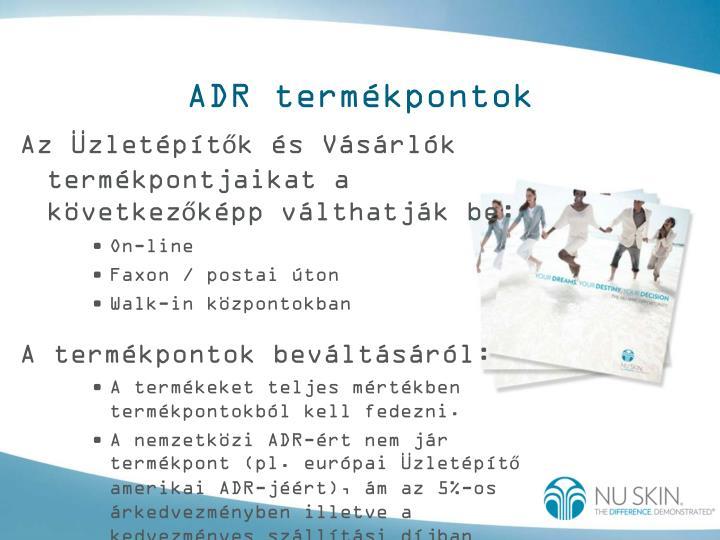 ADR termékpontok