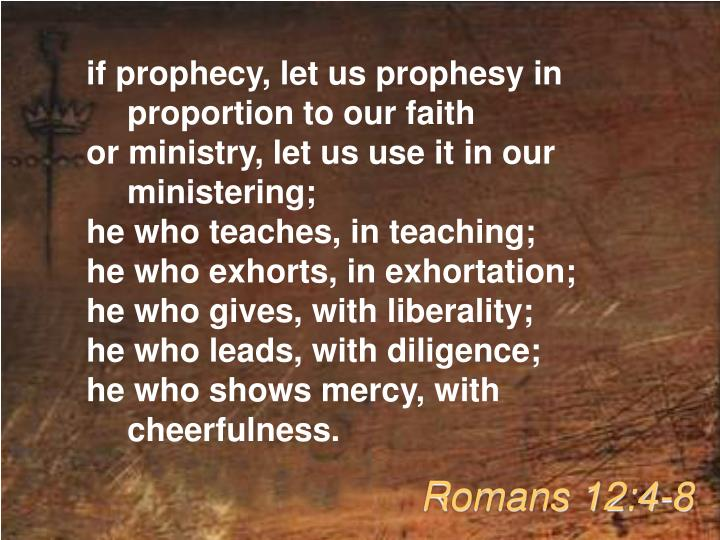 if prophecy, let us prophesy in proportion to our faith