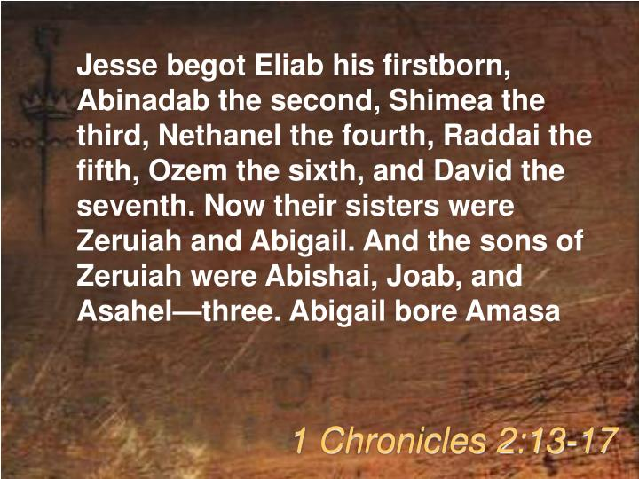 Jesse begot Eliab his firstborn, Abinadab the second, Shimea the third, Nethanel the fourth, Raddai ...