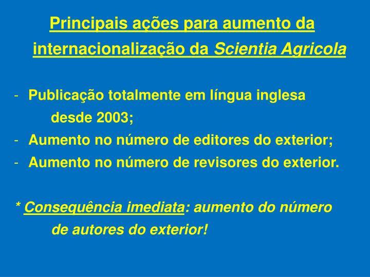 Principais ações para aumento da internacionalização da