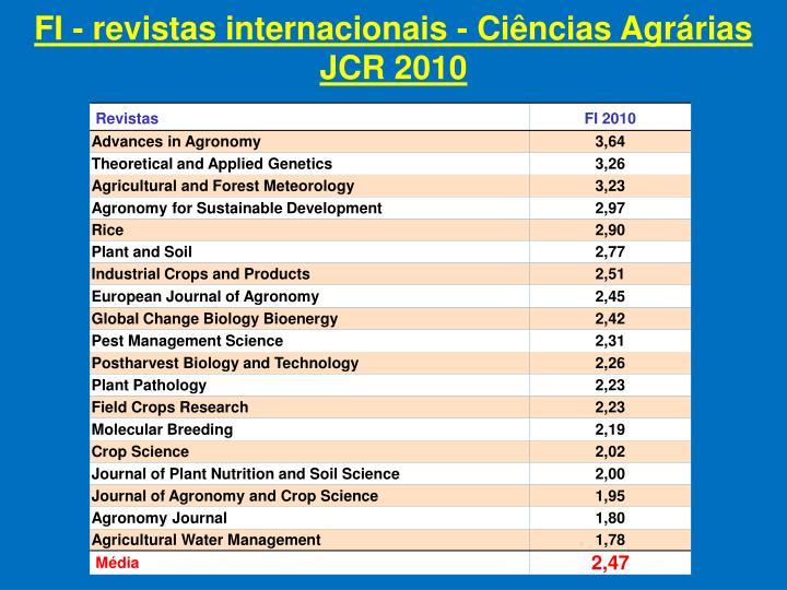 FI - revistas internacionais - Ciências Agrárias JCR 2010