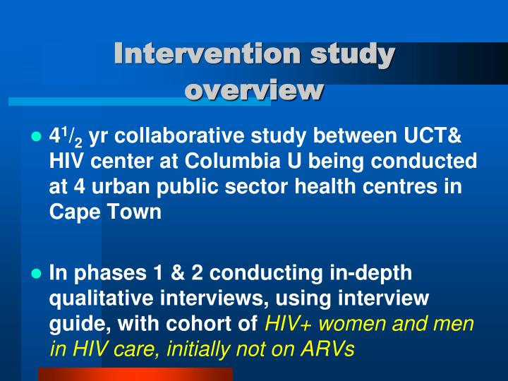 Intervention study overview