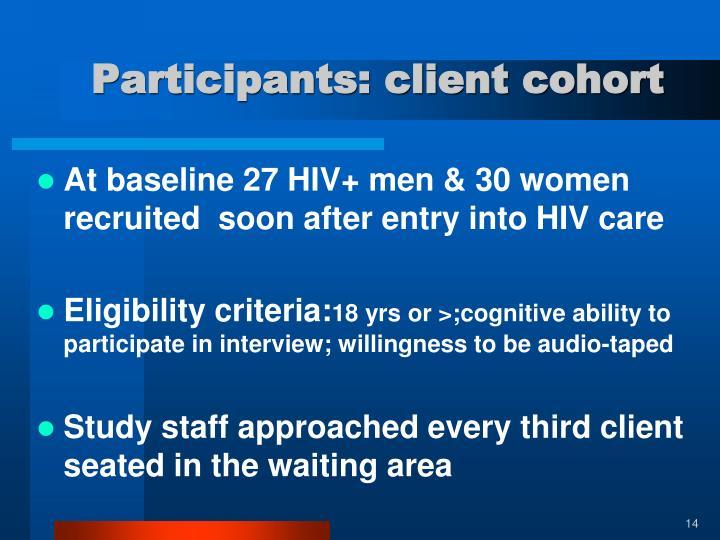 Participants: client cohort