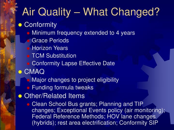 Air quality what changed