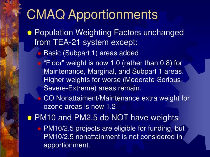 CMAQ Apportionments