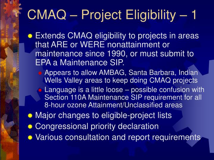 CMAQ – Project Eligibility – 1