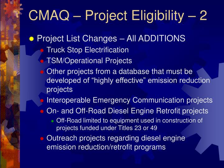 CMAQ – Project Eligibility – 2