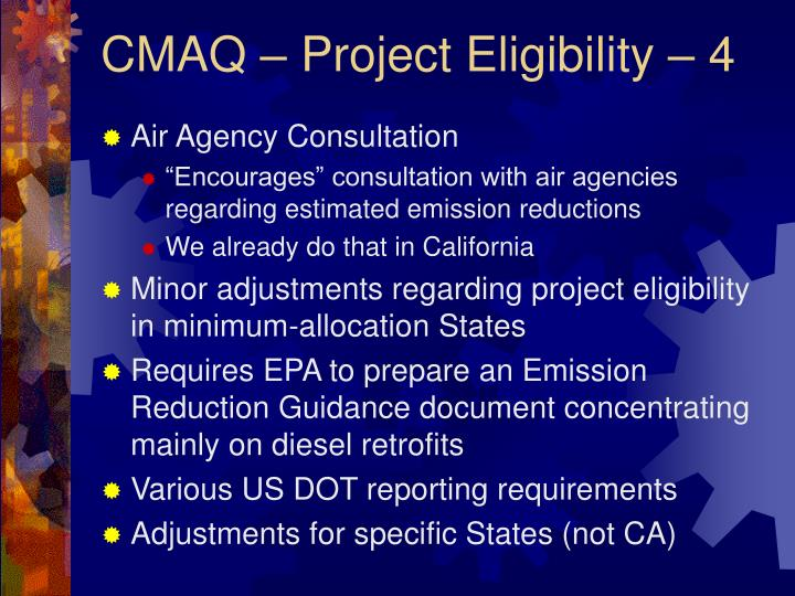 CMAQ – Project Eligibility – 4
