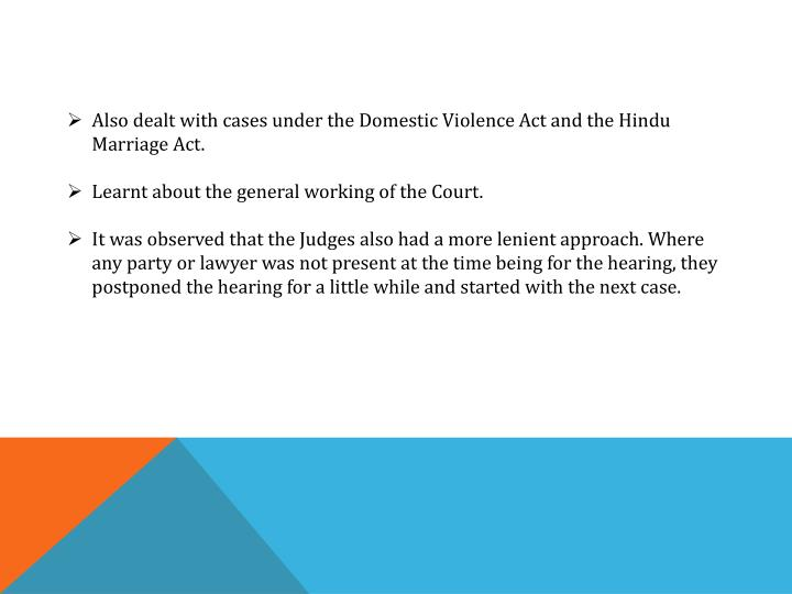 Also dealt with cases under the Domestic Violence Act and the Hindu Marriage Act.