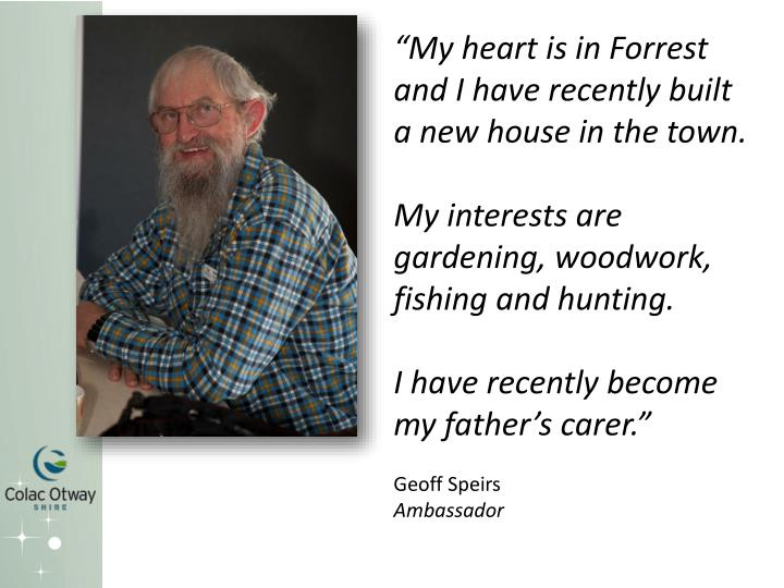 """My heart is in Forrest and I have recently built a new house in the town."