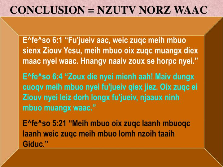 CONCLUSION = NZUTV NORZ WAAC