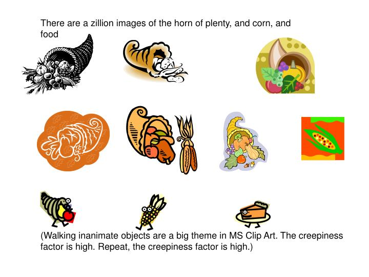 There are a zillion images of the horn of plenty, and corn, and food