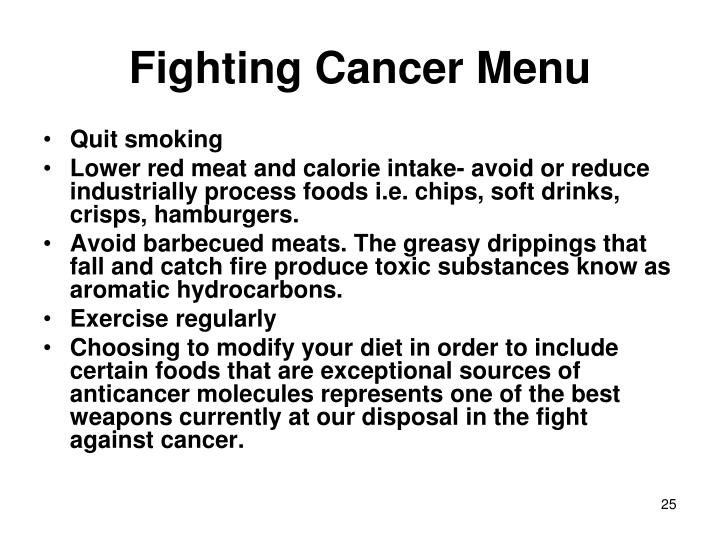 Fighting Cancer Menu