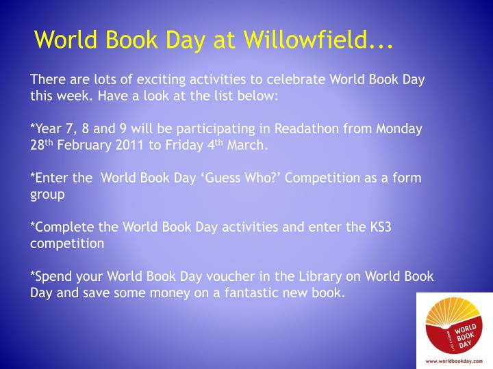 World Book Day at Willowfield...