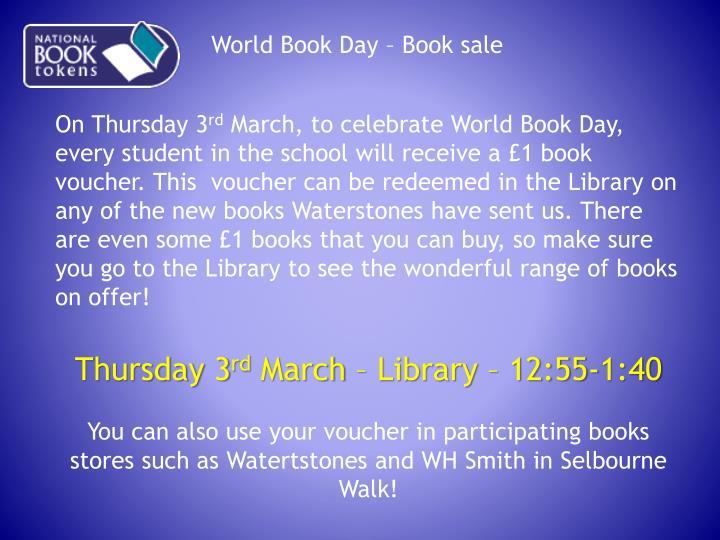 World Book Day – Book sale
