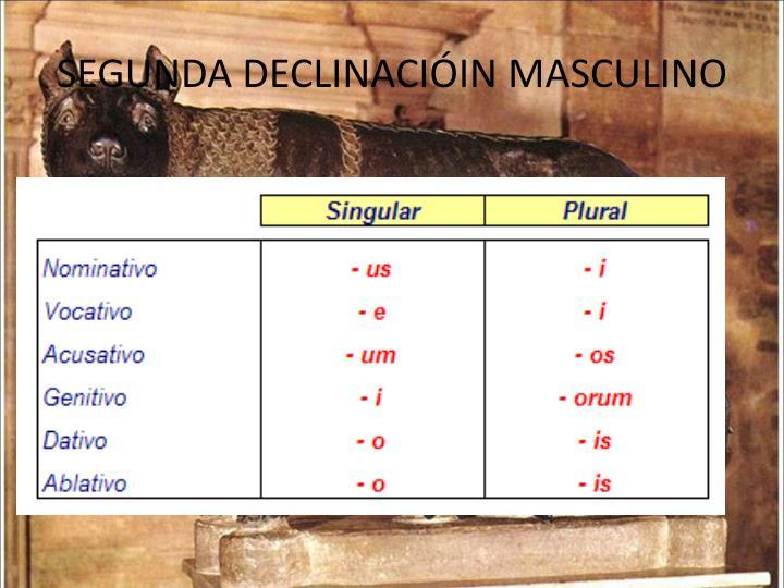 SEGUNDA DECLINACIÓIN MASCULINO