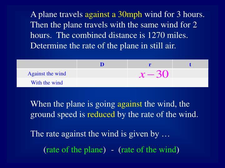 A plane travels