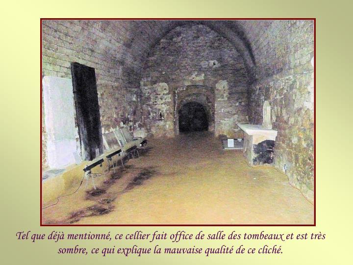 Tel que déjà mentionné, ce cellier fait office de salle des tombeaux et est très sombre, ce qui explique la mauvaise qualité de ce cliché.