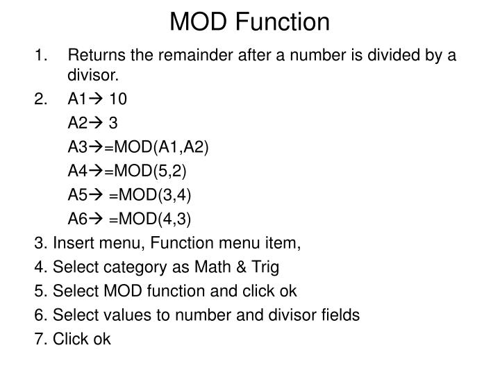 MOD Function