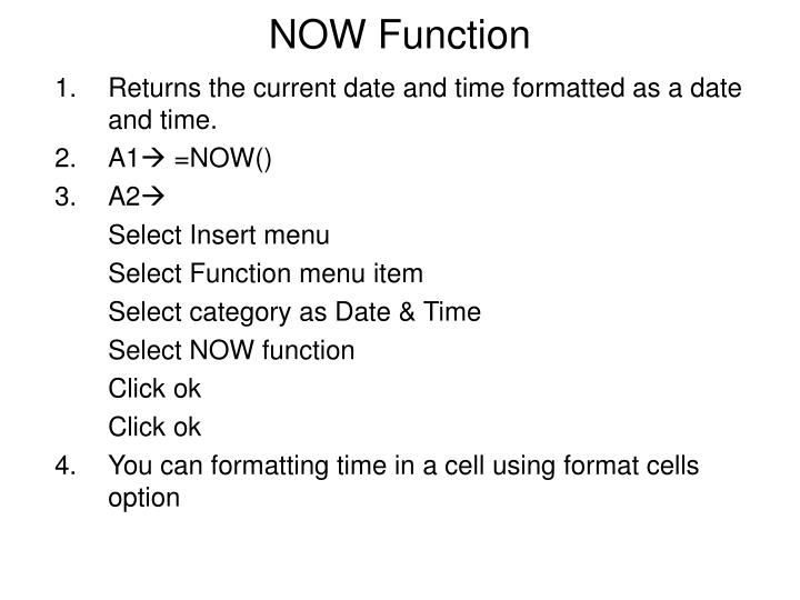 NOW Function