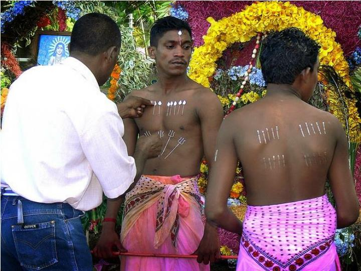 Piercing of tongue and body with needles is done to please ' lord muruga'.